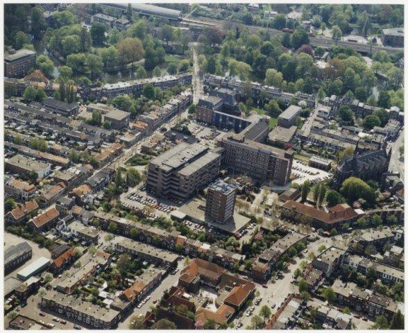 Luchtfoto van het gebied van het ziekenhuis Johannes de Deo.