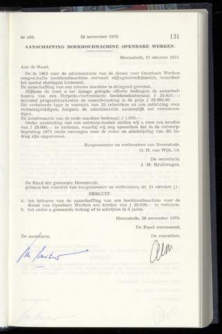 Raadsnotulen Heemstede 1970-11-26