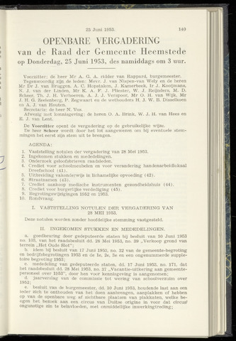 Raadsnotulen Heemstede 1953-06-25