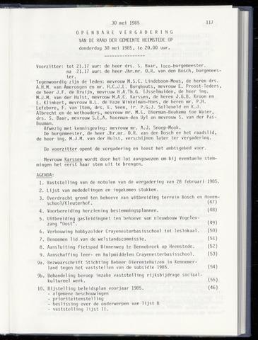 Raadsnotulen Heemstede 1985-05-30