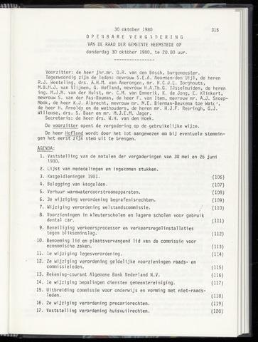 Raadsnotulen Heemstede 1980-10-30