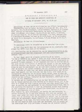 Raadsnotulen Heemstede 1976-11-26