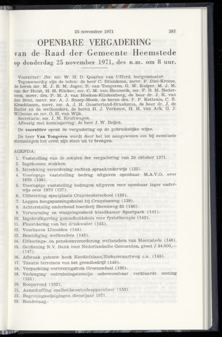 Raadsnotulen Heemstede 1971-11-25