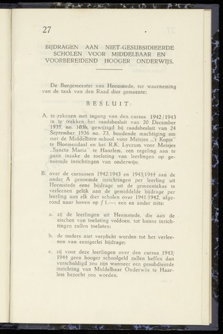 Raadsnotulen Heemstede 1943-10-26