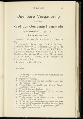 Raadsnotulen Heemstede 1933-07-27