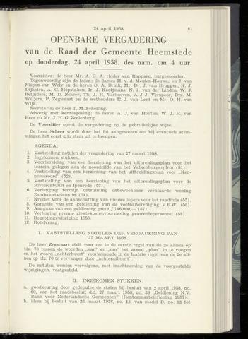 Raadsnotulen Heemstede 1958-04-24