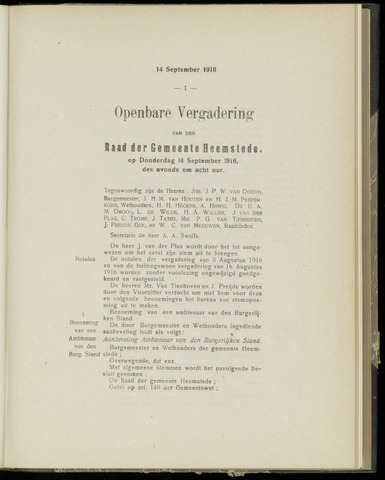Raadsnotulen Heemstede 1916-09-14