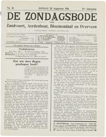 De Zondagsbode voor Zandvoort en Aerdenhout 1916-08-20