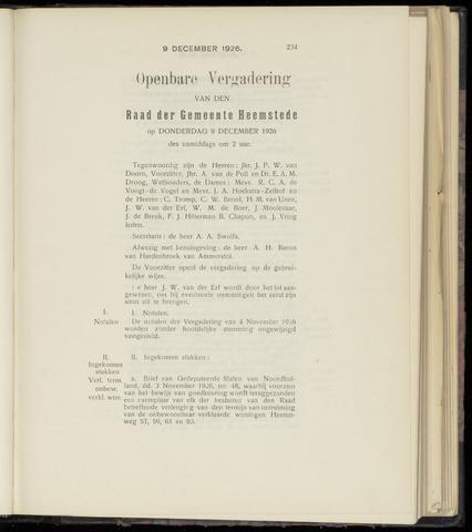 Raadsnotulen Heemstede 1926-12-09