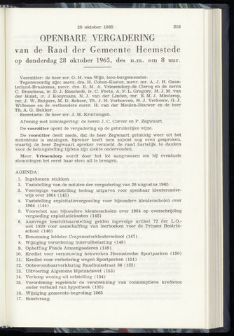 Raadsnotulen Heemstede 1965-10-28