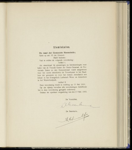 Raadsnotulen Heemstede 1908-02-27