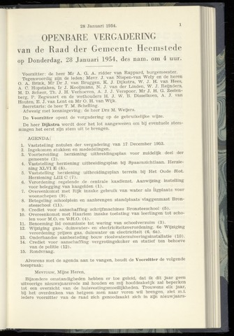 Raadsnotulen Heemstede 1954-01-28