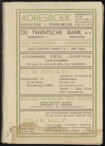 Adresboeken Heemstede, Bennebroek 1940