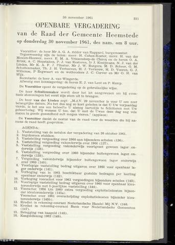 Raadsnotulen Heemstede 1961-11-30