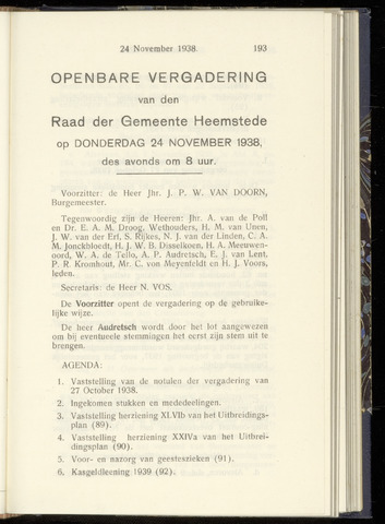 Raadsnotulen Heemstede 1938-11-24