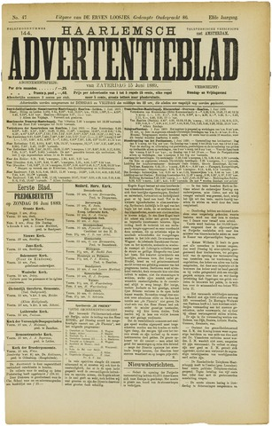 Haarlemsch Advertentieblad 1889-06-15