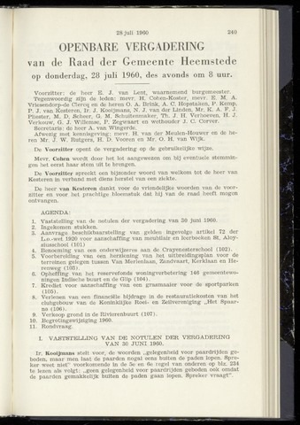 Raadsnotulen Heemstede 1960-07-28