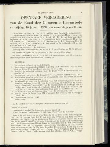 Raadsnotulen Heemstede 1958-01-10