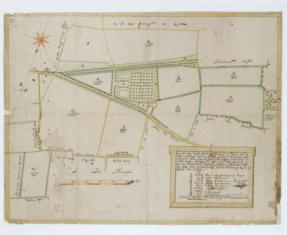 """Kaart van een plantage, woning, boomgaard c.a. """"Het Prinsenhof"""" in Velsen door A.v.d.Walle, gesigneerd r.o. in cartouche"""