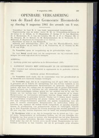 Raadsnotulen Heemstede 1961-08-08