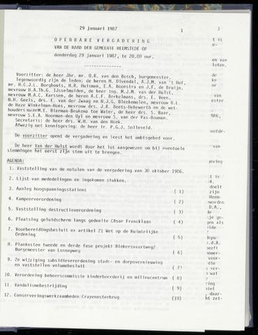 Raadsnotulen Heemstede 1987-01-29