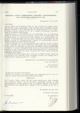 Raadsnotulen Heemstede 1970-06-25