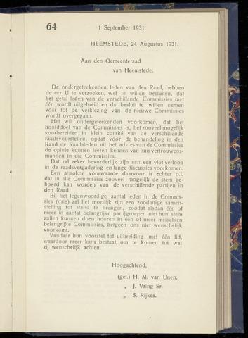 Raadsnotulen Heemstede 1931-08-27
