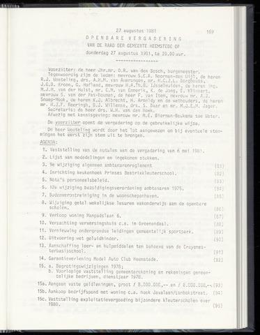 Raadsnotulen Heemstede 1981-08-27