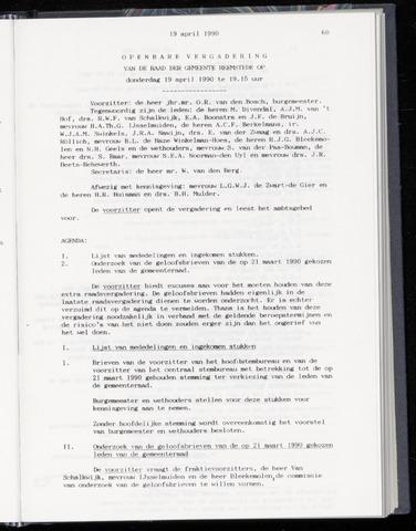 Raadsnotulen Heemstede 1990-04-19