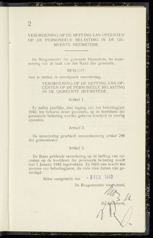 Raadsnotulen Heemstede 1942-02-03