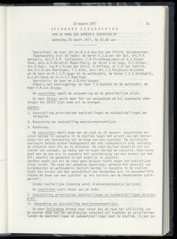 Raadsnotulen Heemstede 1977-03-23