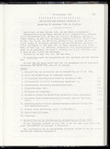 Raadsnotulen Heemstede 1982-09-30