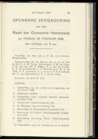 Raadsnotulen Heemstede 1938-02-25