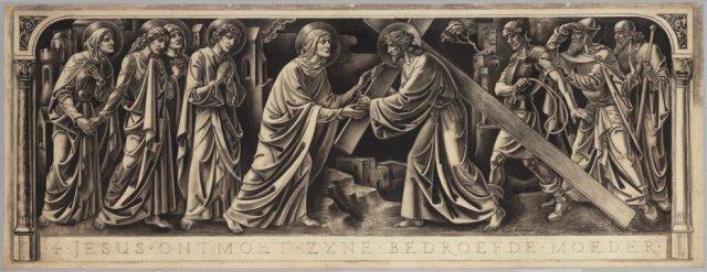 Jezus ontmoet Zijn Heilige Moeder. <br> Ontwerp voor het tegeltableau met de vierde kruiswegstatie. <br> Pen in zwart, houtskool en potlood; rechtsonder gesigneerd en gedateerd