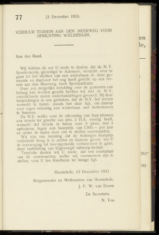 Raadsnotulen Heemstede 1933-12-21