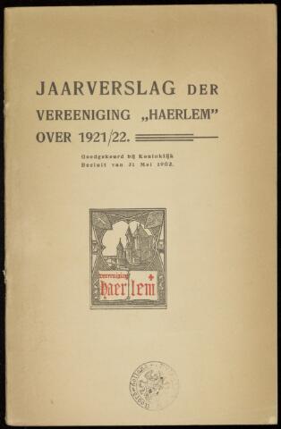Jaarverslagen en Jaarboeken Vereniging Haerlem 1921