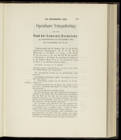 Raadsnotulen Heemstede 1923-12-20