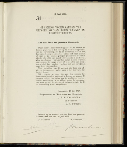 Raadsnotulen Heemstede 1919-06-10