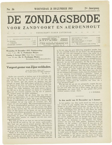 De Zondagsbode voor Zandvoort en Aerdenhout 1913-12-31