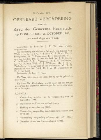 Raadsnotulen Heemstede 1948-10-28