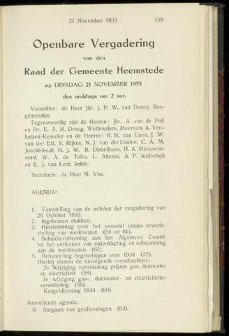 Raadsnotulen Heemstede 1933-11-21