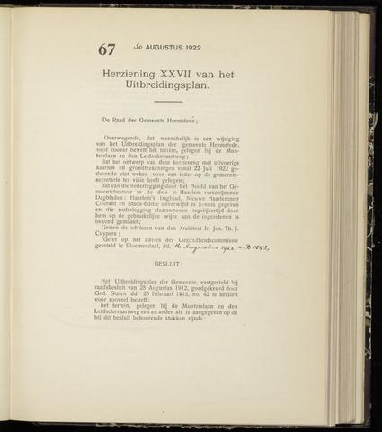 Raadsnotulen Heemstede 1922-08-30