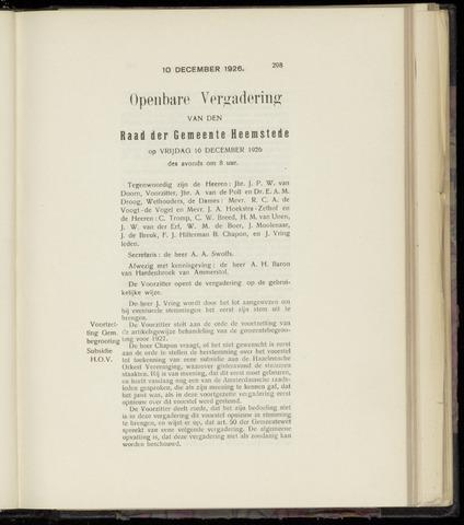 Raadsnotulen Heemstede 1926-12-10