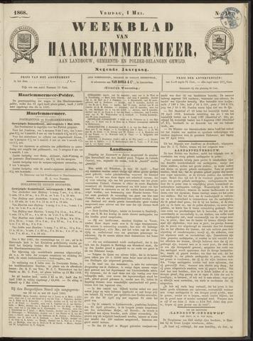 Weekblad van Haarlemmermeer 1868-05-01