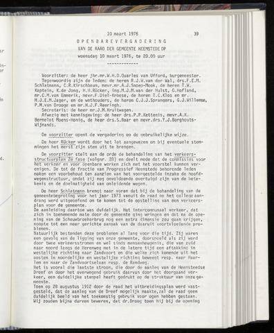 Raadsnotulen Heemstede 1976-03-10