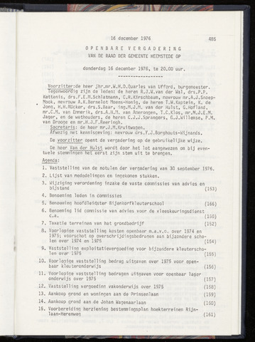 Raadsnotulen Heemstede 1976-12-16