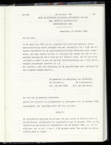 Raadsnotulen Heemstede 1982-11-26