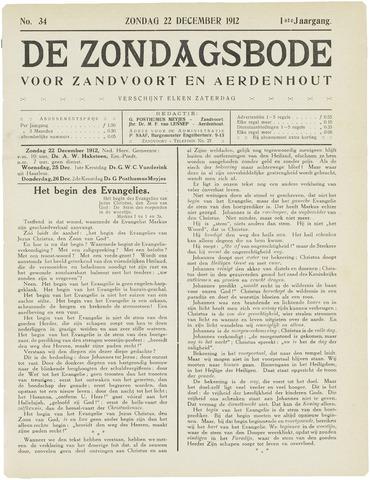 De Zondagsbode voor Zandvoort en Aerdenhout 1912-12-22