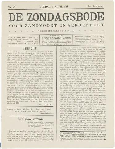 De Zondagsbode voor Zandvoort en Aerdenhout 1915-04-11