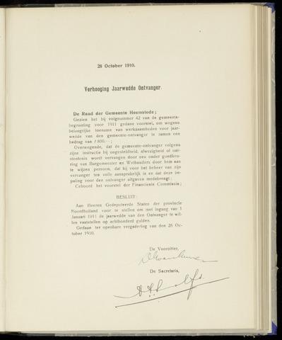 Raadsnotulen Heemstede 1910-10-28